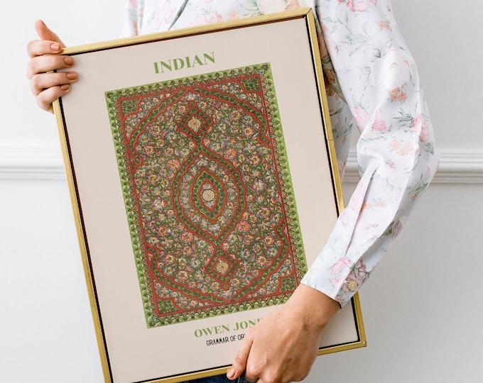 Owen Jones: Grammar of Ornament, Indian | Vertical Print | Wall Art | Office Décor | Art Print | Design Sourcebook | Chromolithography
