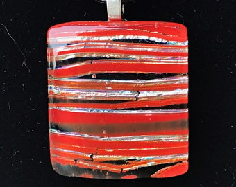 Striped Rectangular Fused Dichroic Glass Pendant in Fiery Oranges Reds /& Black Silvers