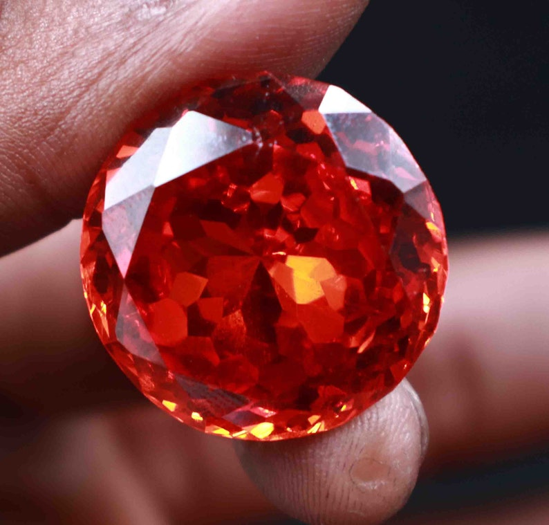 High-class Quality 84.95Ct Certified Natural Round Cut  Orange Spinel Gemstone Use For Gift EL1622
