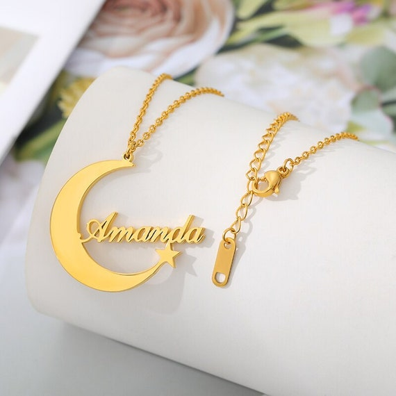 Moon star necklace | Customized gold moon star necklace |personalized crescent moon Chain |Best Friend Custom Jewelry |Silver star necklace