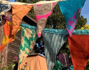 Recycled bunting, handmade bunting, eco friendly bunting, garden bunting, gardeners gift, fair trade bunting, ethical gift festival bunting