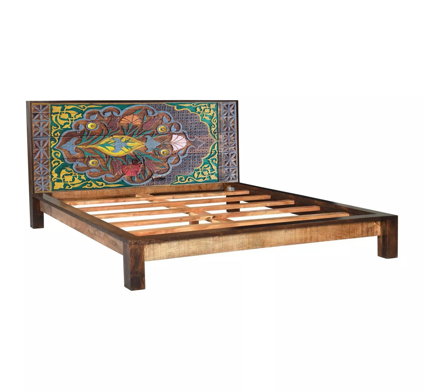 Solid Wood Bed Frame, Carved Boho King or Queen Headboard Footboard, Custom  size Wooden Bed, Rustic Bed Platform, Oriental Antique Furniture