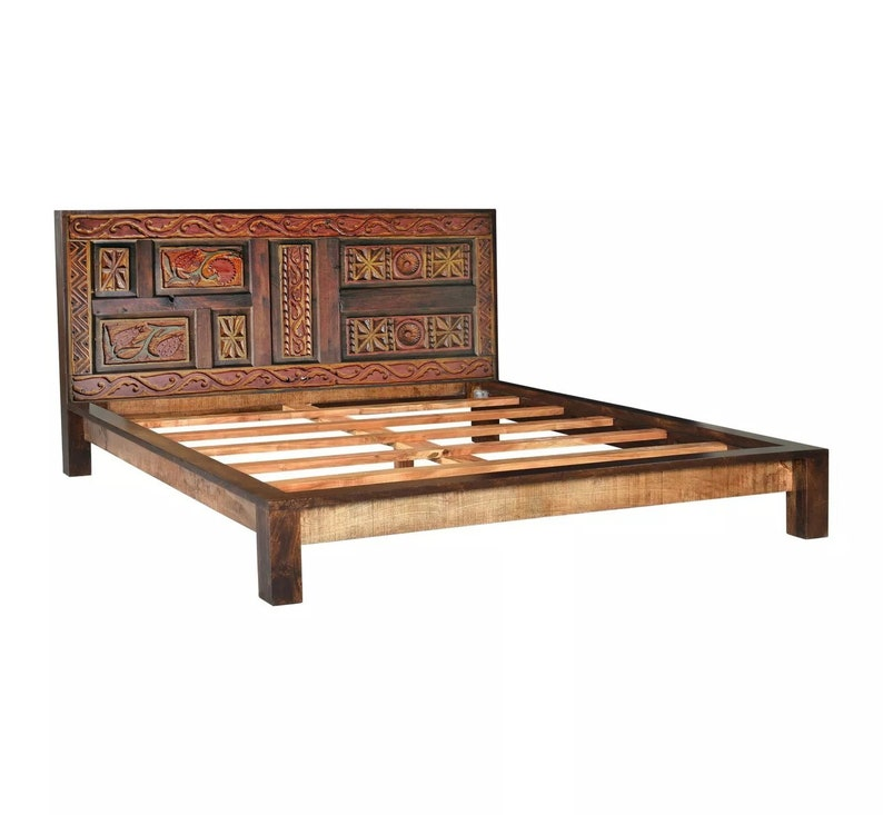 Hand Carved Solid Barn Wood Queen Bed, Queen Bed Frame With Headboard And Footboard Wood