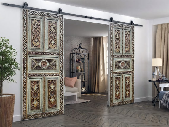 Barn Wood Sliding Doors, Reclaimed Barn Door, Decorative Interior Doors,  Hand Carved Antique Door, Custom Wood Headboard, Wood Wall Art