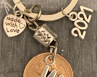 Gemini Zodiac Star Sign Personalised Initial Letter Lucky Penny Keyring For Him  Her In Gift Bag