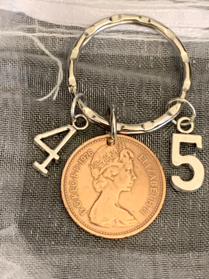 45th Birthday Polished 1976 Coin /& Charms On Keyring In Gift Bag