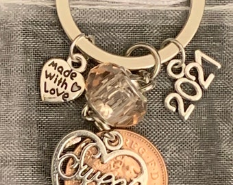 New 16th Birthday Gift 2005 Coin & Charms On Keyring In Gift Bag