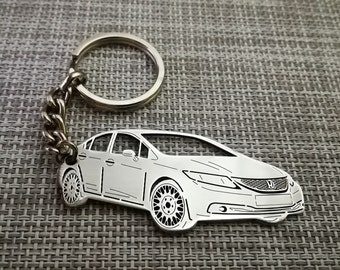 Honda Civic Gray Spun Brushed Metal Keyring