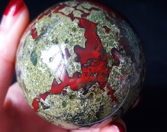 1pc 50mm+ Natural dragon blood stone quartz sphere crystal ball,rock stone mineral specimen,Reiki healing 260g+ Home decoration