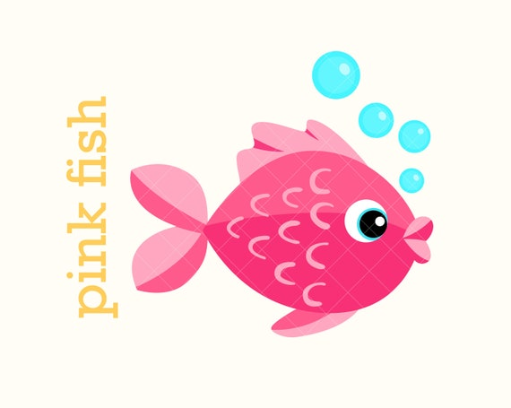 Download Clipart Cute Little Fish Pink Cartoon Happy Fish Vector Etsy