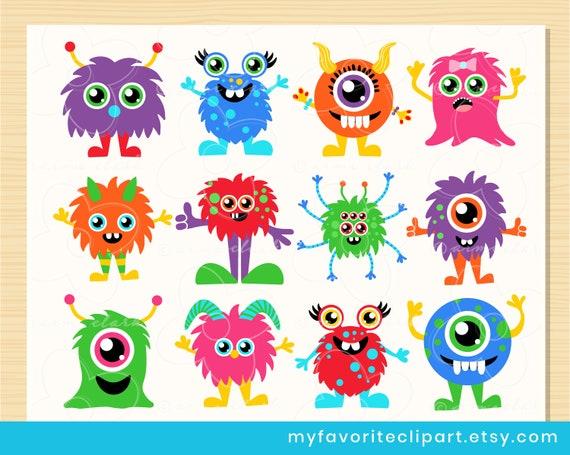 Friendly Monster Clipart Cute Monster Baby Monster Etsy