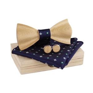 Wood bow tie sets cufflink best man gift groomsmen gift necktie brothers accessories suit up bowtie wedding party handkerchief