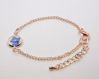 Sweet and Dainty Blue Flower Bracelet Forget Me Nots Multi Color Rhinestones and Blue Enamel Daisies