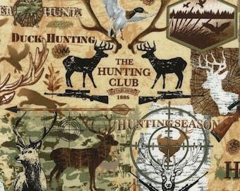 Timeless Treasures YARD Nature Cabin Moose Antlers on Black Animal Fabric