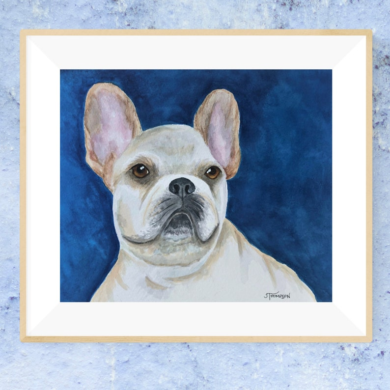 FRENCH BULLDOG ORIGINAL  Watercolor Painting Gift for Frenchie Lover Giclee Print -or-
