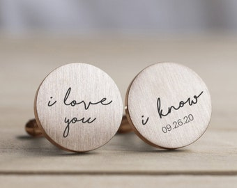 Custom Father of Bride Rose Gold Cufflinks Groom Wedding Cuff links Black Handwriting Cuff Links Personalized Groom Matte Cuff links