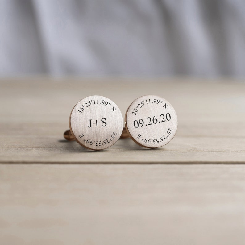 Custom Coordinates Groom Gift from Bride Engraved Personalized Cufflinks Rose Gold Wedding Cuff link