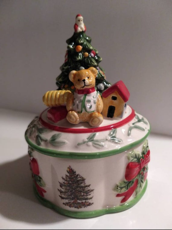Spode Christmas Music Box Jewelry Box Vintage