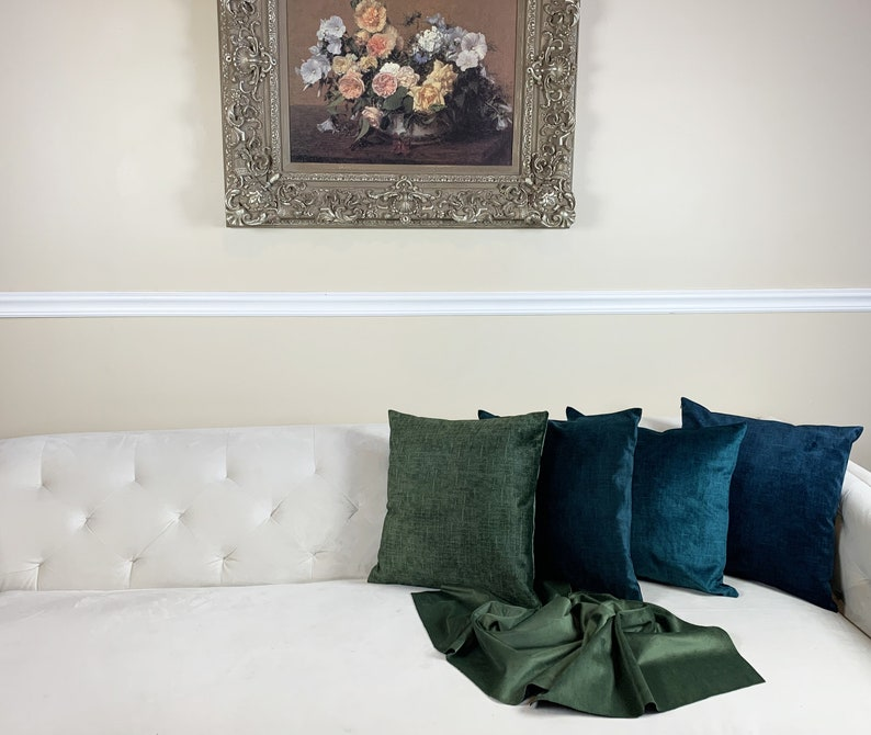 Green Color Tones Decorative Velvet Pillow Cover \u2013 Handmade Multiple Size Covers Printed Velvet Pillow Cover with Invisible Zipper