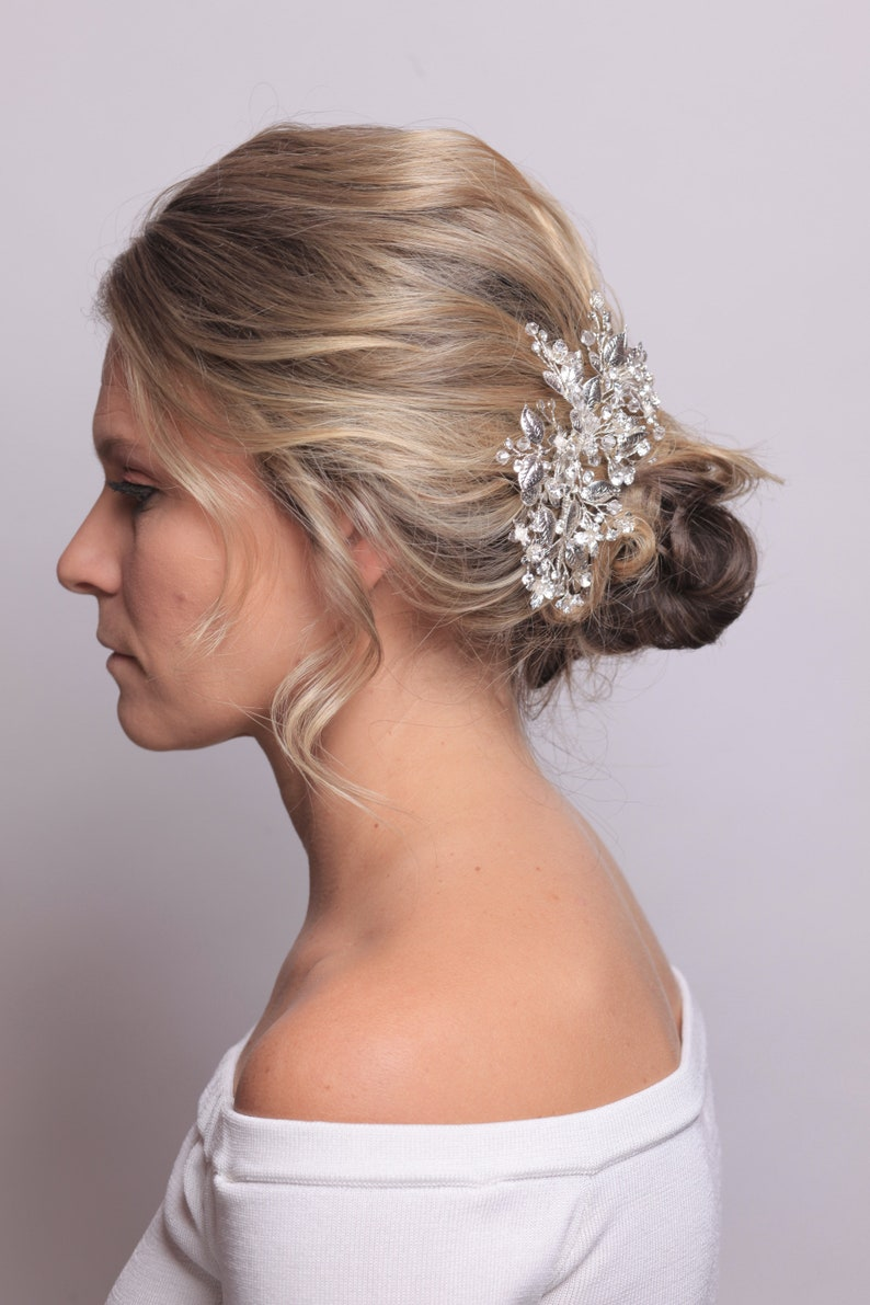 Wedding Accessories Bridal Hair Accessories Wedding Hair comb Bridal Head Piece Gold Silver Clear Crystal Pearl Hair comb Silver