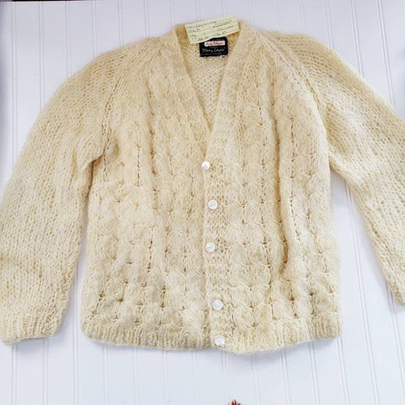 Women Cream mohair wool button down sweater cardig