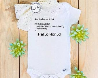 Hello World Programming Baby Onesie®, Pregnancy Announcement Reveal, Baby Girl or Boy Arriving, Unisex Newborn Gift or Baby Shower Present