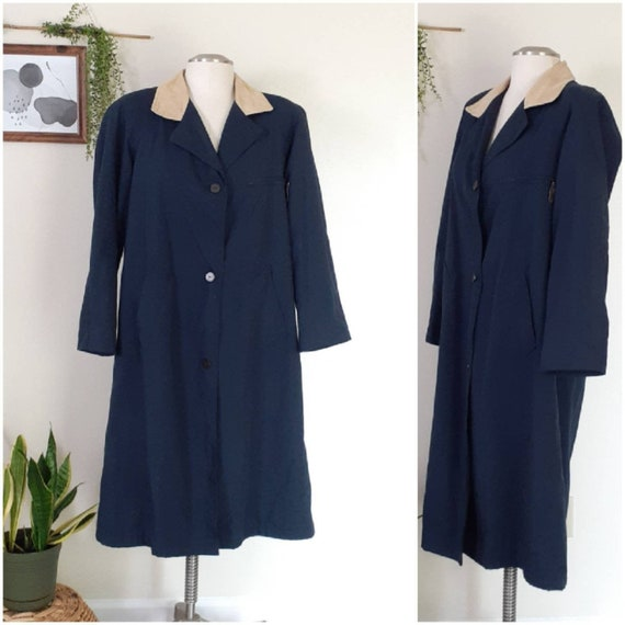 Plus Size Vintage Trench Coat, Navy Trench Coat, W