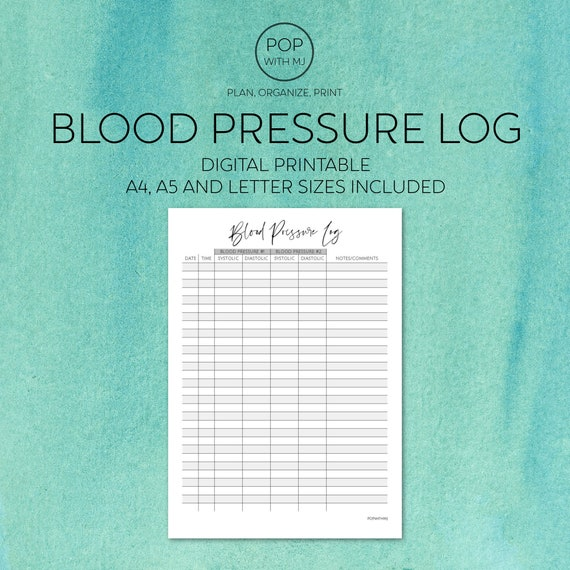 health Monitor Printable blood pressure log life planner insert blood pressure check print diet health planner insert