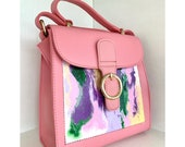Hand painted handbag. Top handle bag.