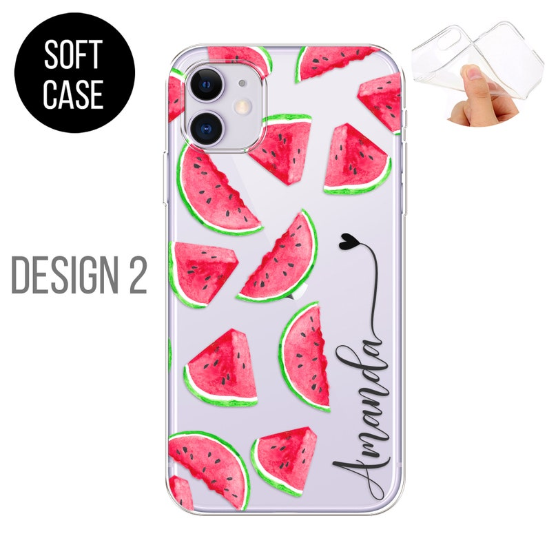 PERSONALISED phone case initials name soft silicone watermelons cover for apple iphone 5 5s SE 2020 6 6s Plus 7 8 X Xs max Xr 11 Pro Max