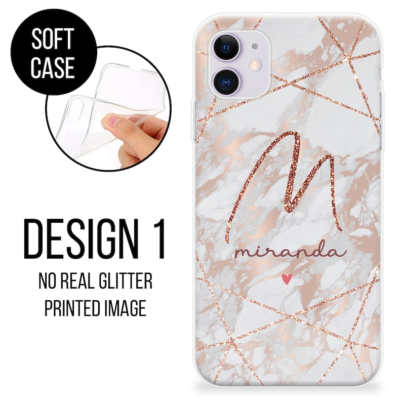 Personalised Phone case cute hearts custom name initials great gift phone silicone cover iPhone 5 5s SE 6 6s Plus 7 8 X Xs max Xr 11 Pro MAX