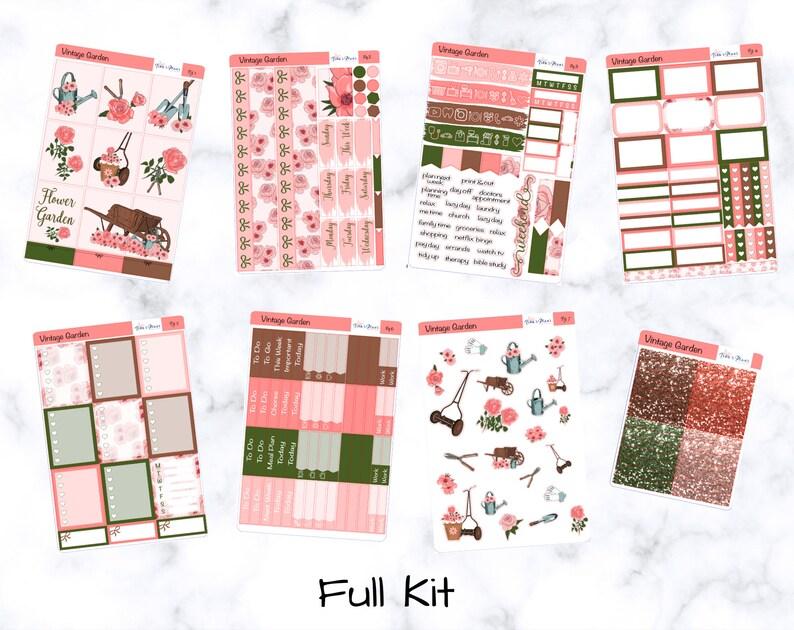 Weekly Planner Sticker Kit Floral Vintage Garden K56 Vertical Erin Condren Life Planner