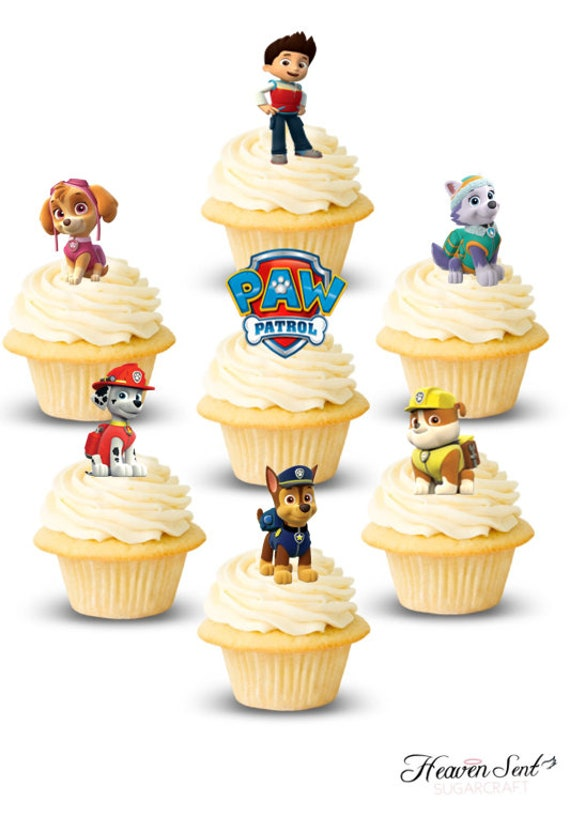 30x Paw Patrol Mixed Cupcake Toppers Edible Wafer Paper Fairy Cake Toppers