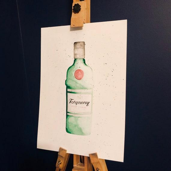 Watercolour Splatter Blood Orange Gin Bottle Wall Art Framed Print