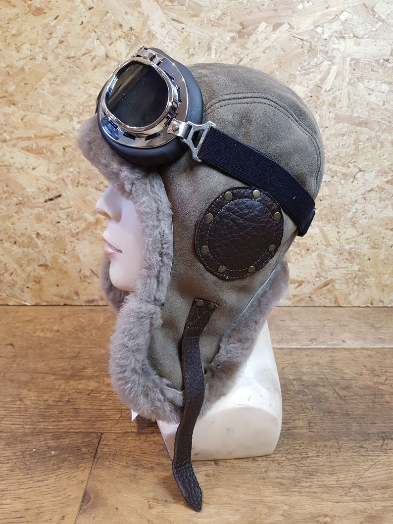 Flying Hat Black Leather Aviator Pilot Hat Motorcycle Men and Women Steamunk Hat Leather Helmet Aviation WW2 Style WWII