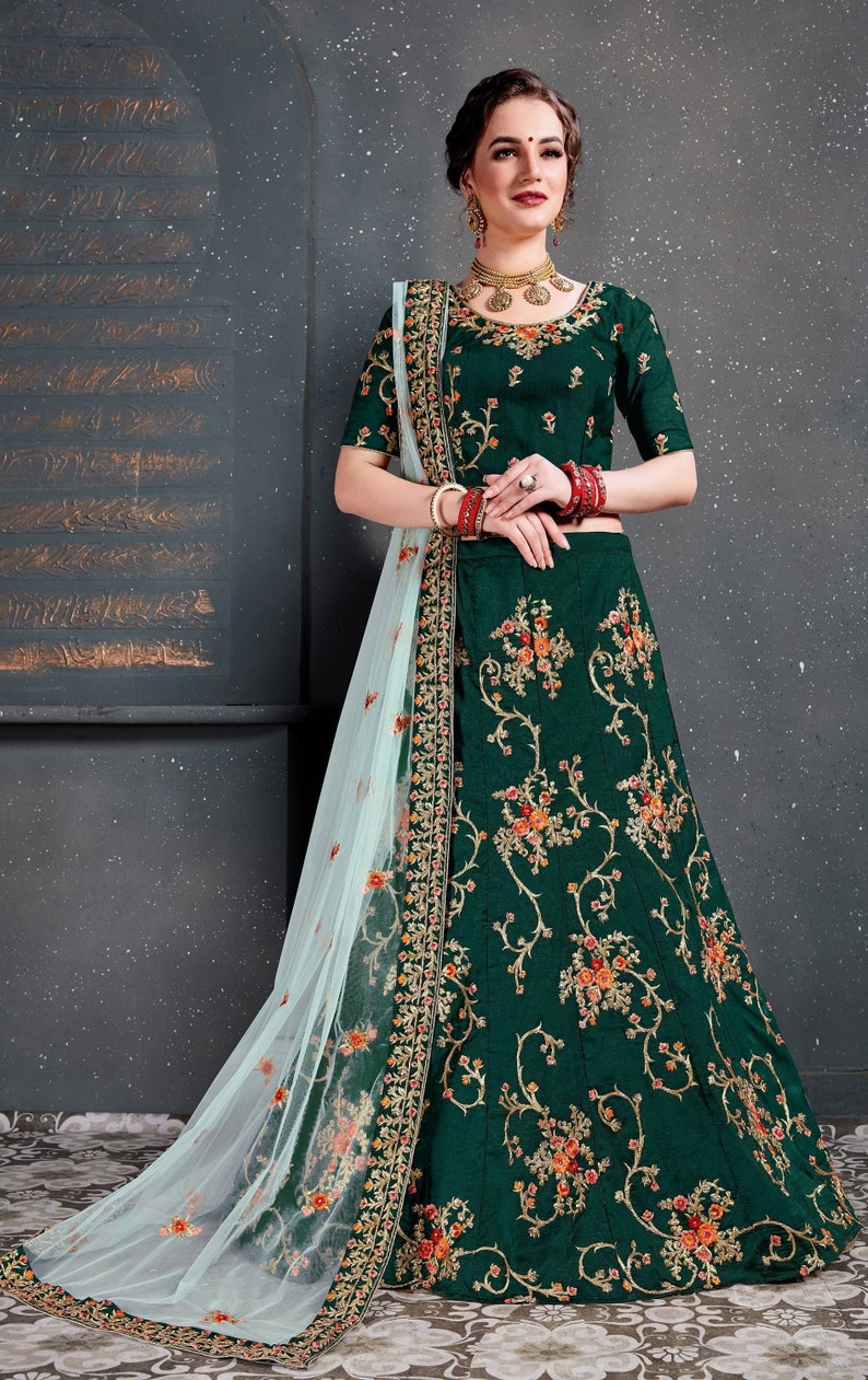 Bollywood Lehenga in Amazing Green Flowery Work For party wear bridal wedding in UK boutique shopping for woman bridal wedding wear outfit
