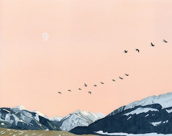Print: Two Drainages and Many Geese