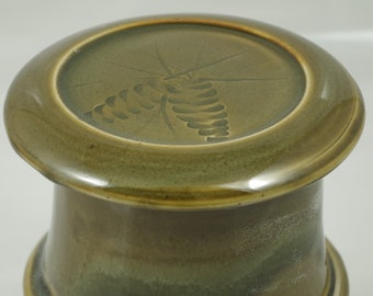 Gloss Moss Pine Cone--French butter dish sometimes called a french butter keeper, french butter crock