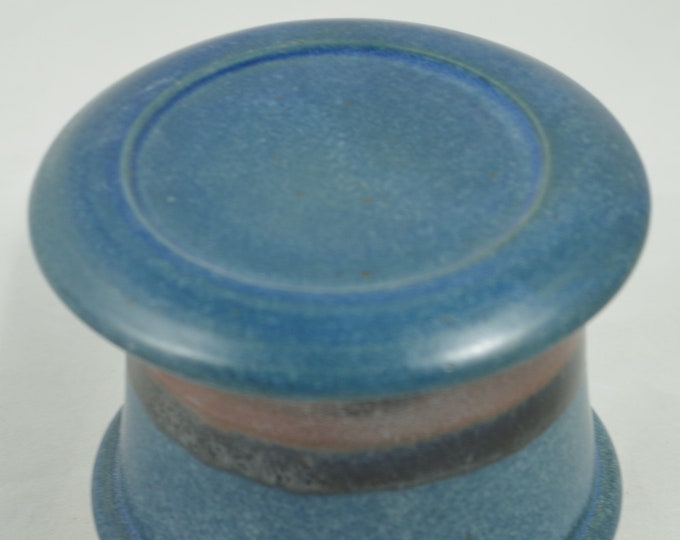 Silky Blue--French butter dish sometimes called a french butter keeper, french butter crock