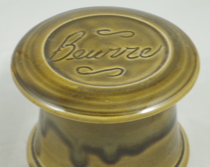 Gloss Moss Beurre--French butter dish sometimes called a french butter keeper, french butter crock