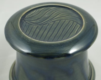 Misty Blue Free Form--French butter dish sometimes called a french butter keeper, french butter crock