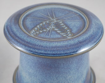 Blue Moon Pine Cone-French butter dish sometimes called a french butter keeper, french butter crock