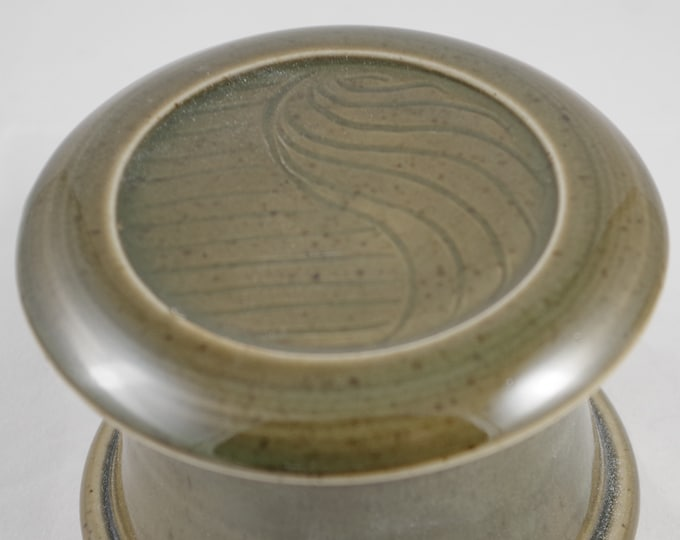 Gloss Moss Free Form--French butter dish sometimes called a french butter keeper, french butter crock