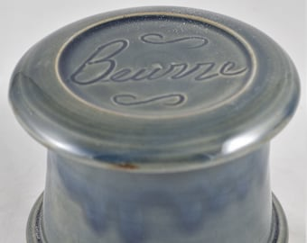 Misty Blue Beurre--French butter dish sometimes called a french butter keeper, french butter crock