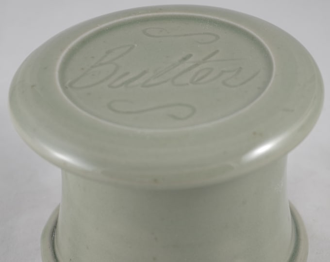 Celedon Butter--French butter dish sometimes called a french butter keeper, french butter crock