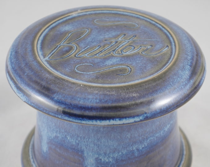 Blue Moon Butter-French butter dish sometimes called a french butter keeper, french butter crock