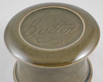 Gloss Moss Butter--French butter dish sometimes called a french butter keeper, french butter crock