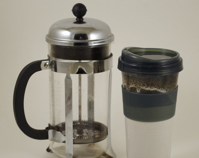 Montana White Travel Mug, car cup, lidded tumbler