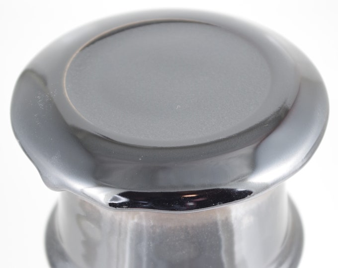 Mirror Black--French butter dish sometimes called a french butter keeper, french butter crock