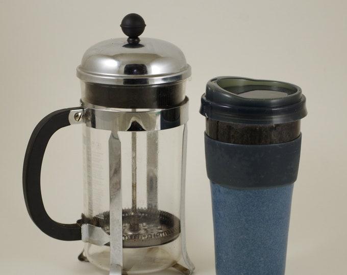 Silky Blue Travel Mug, car cup, lidded tumbler